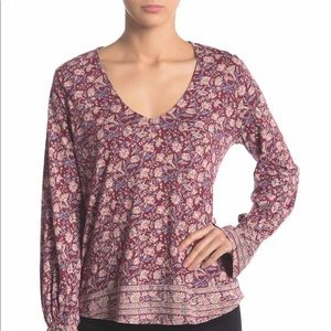 Lucky Brand Red Multi Border Print Bell Sleeve Top